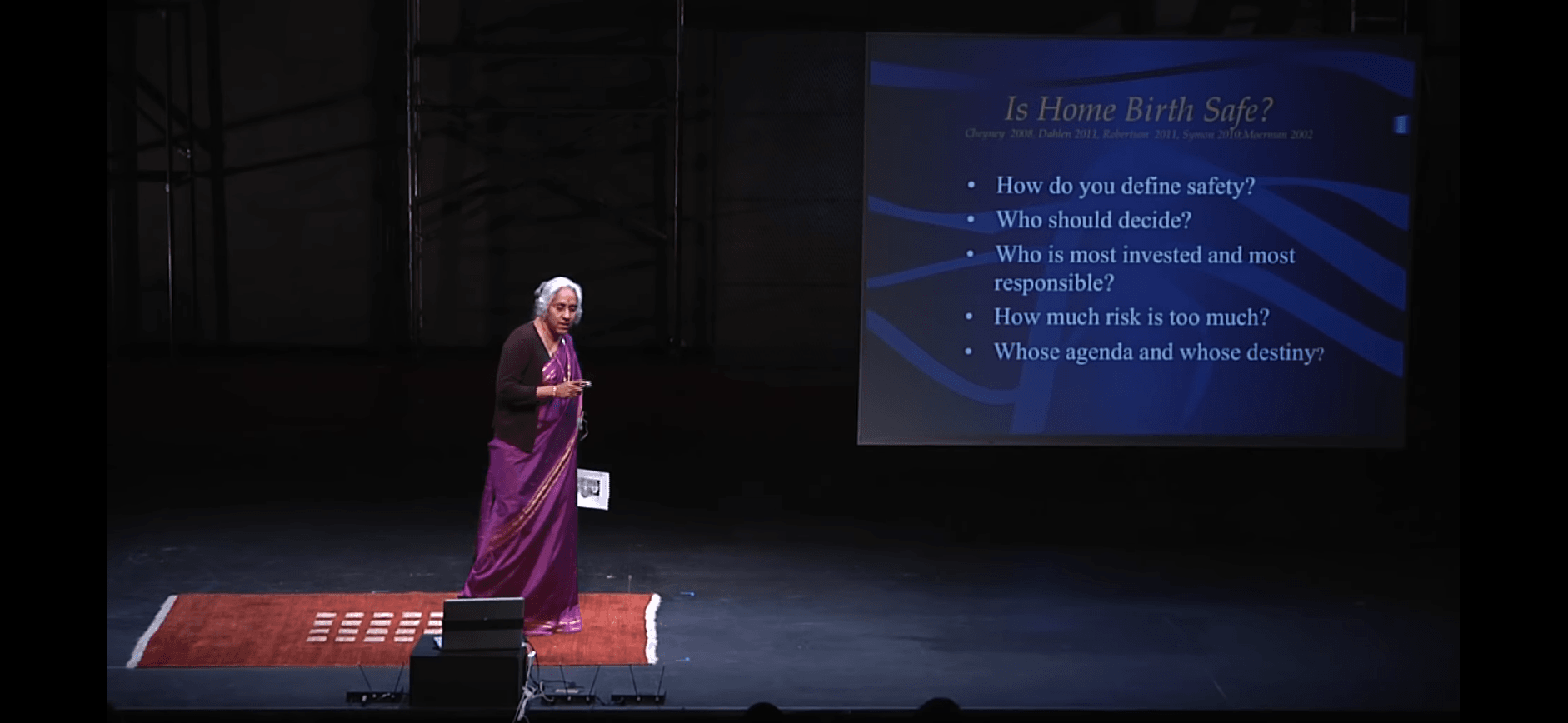 """Screenshot of Saraswathi Vedam's presentation, """"Home or Hospital: Holding the Space for Human Birth"""" at TEDxAmherstCollege (YouTube video)"""
