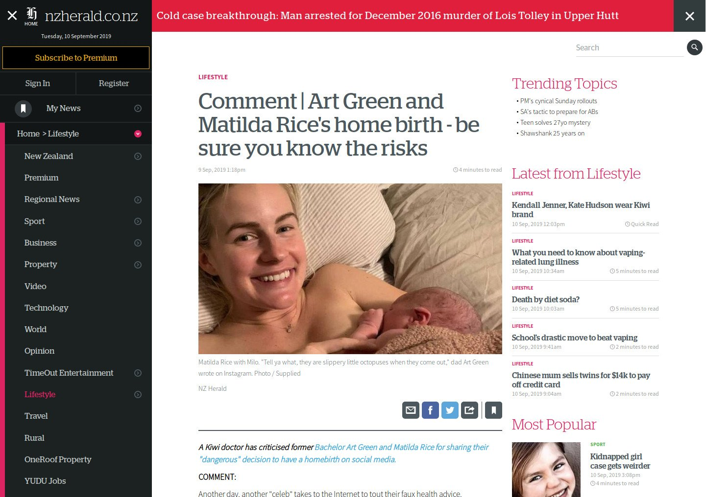 """Screenshot of the New Zealand Herald article """"Comment Art Green and Matilda Rice's home birth - be sure you know the risks"""""""