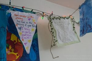 Two of the birth pennants that humg above the birth space - one from Rose's midwife and the other from a fellow Auckland HomeBirth Community mama.