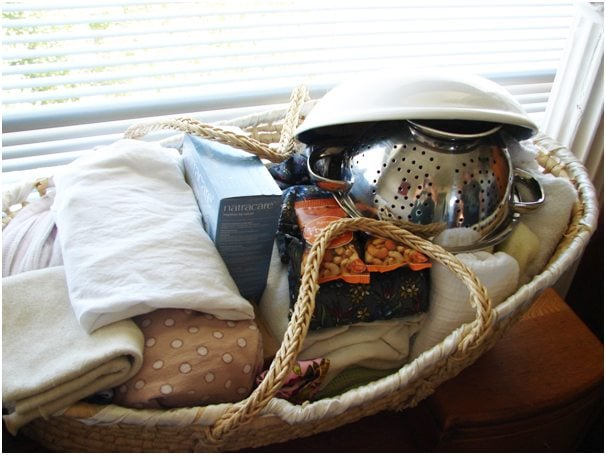 'Birth Basket' containing supplies for during labour and birth and just after birth.