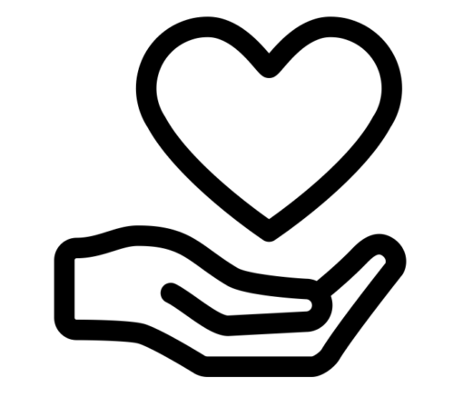 Donation heart in hand symbol
