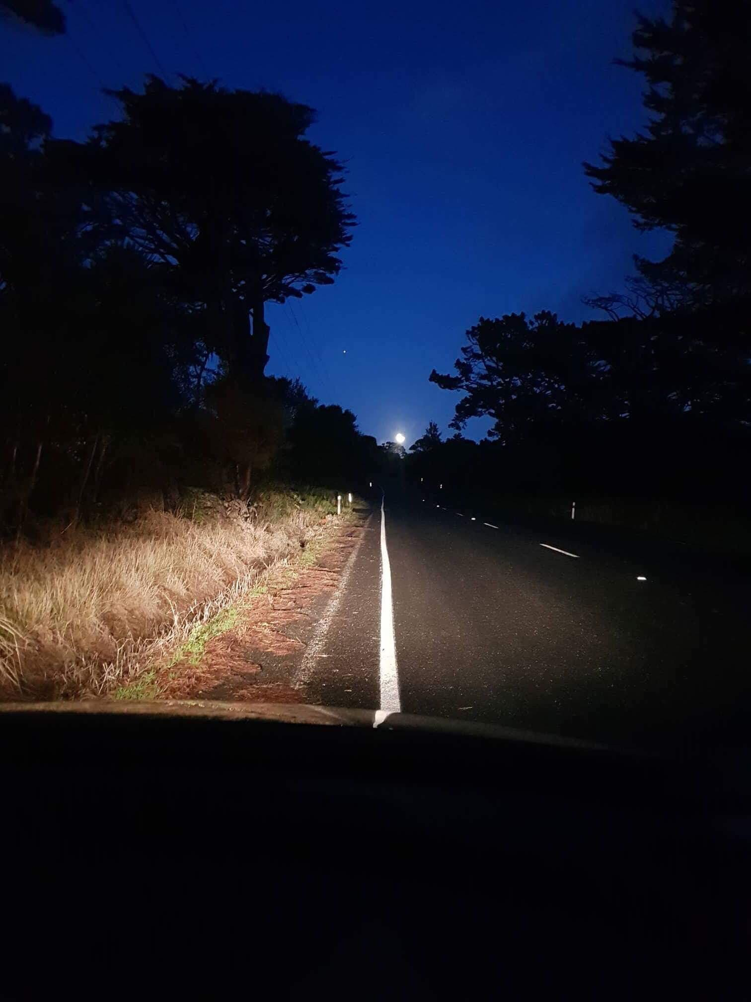 Moon during early hours of morning whilst driving to a home birth