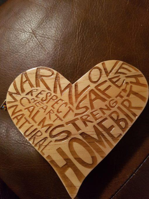 HOMEBIRTH wooden heart
